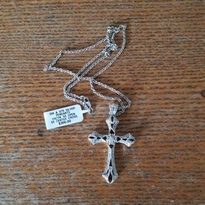 Genuine sterling and diamond cross NWT
